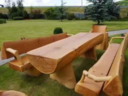 Столы лавочки из бревна